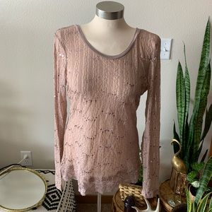 Pink lace sequin burnout